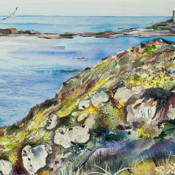 The Cliffs at Pleinmont/ Watercolour 88x56cm