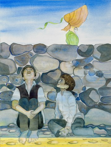 The Boys Follow Marie/ Watercolour 67x50cm