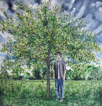 Young Oak Tree/ Watercolour 80cm x 78cm